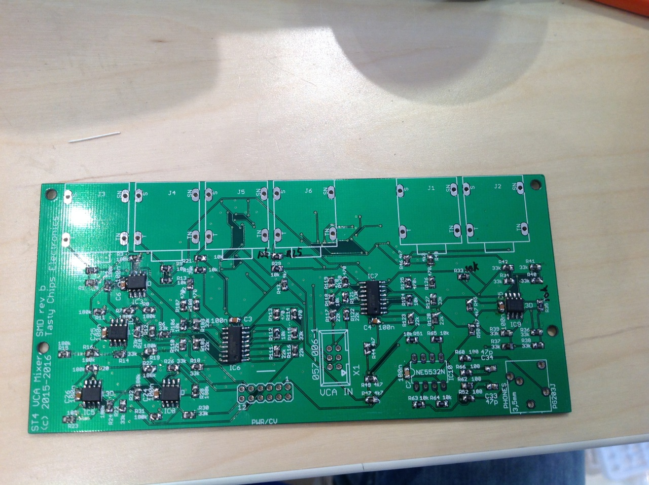 VCA top side, LM13700's done.