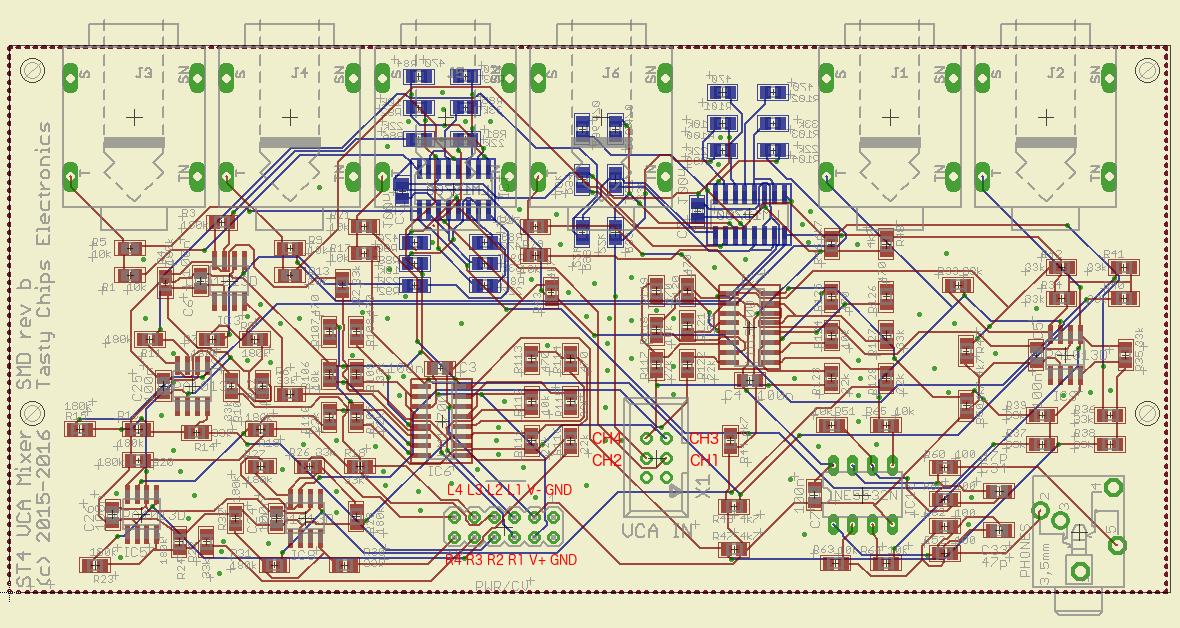 VCA board rev b with connector pinouts annotated.