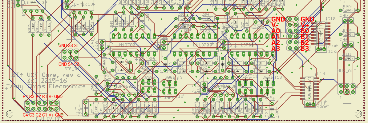 Part of the VCF board rev d layout with annotated connector pinouts.