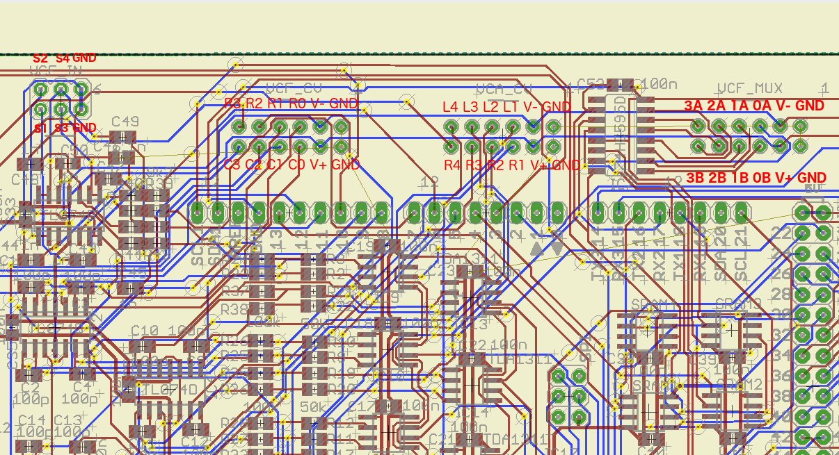 Exp board rev i with annotated analog connector pinouts.