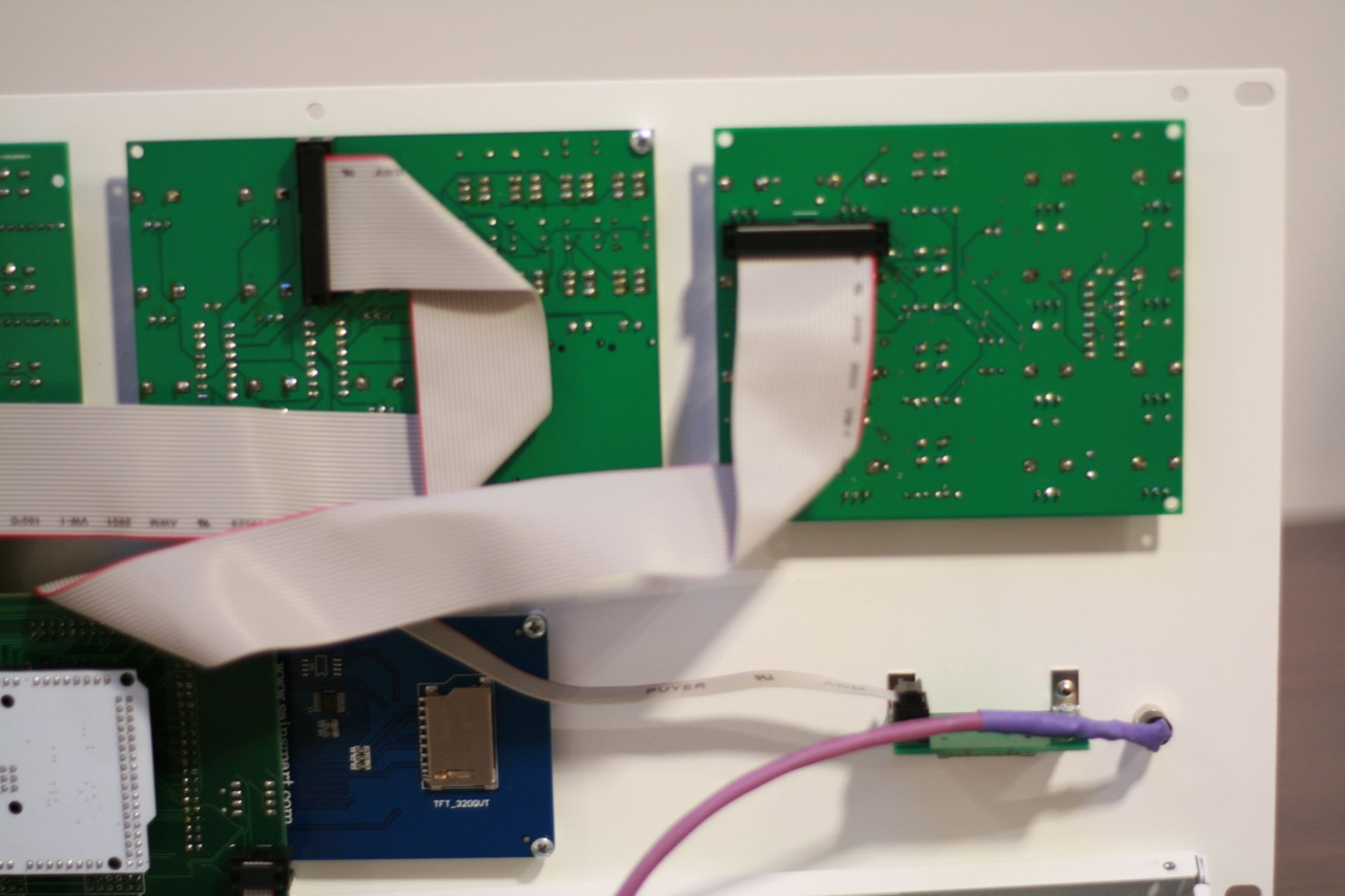 Backside of the lid. Control boards, DUE, part of LCD display, SD card board, and headphone wiring.